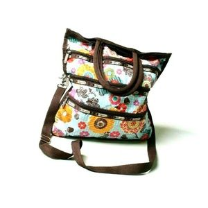 LeSportsac Crossbody Messenger Brown & Blue Floral